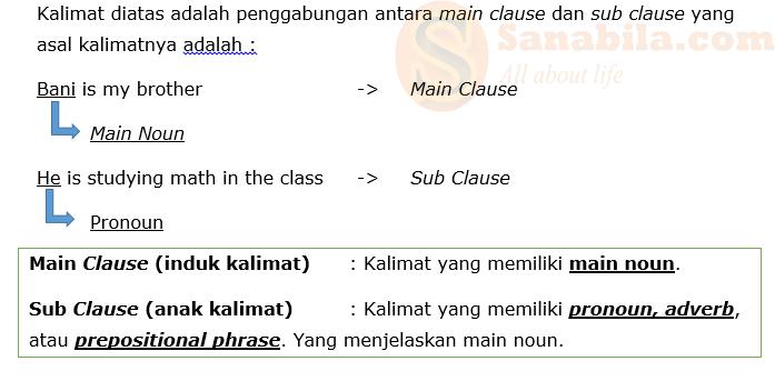 Cara Penggabungan Main clause dan sub clause pada adjective clause