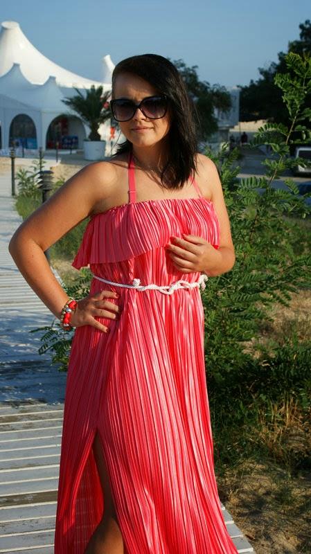 łososiowa maxi dress