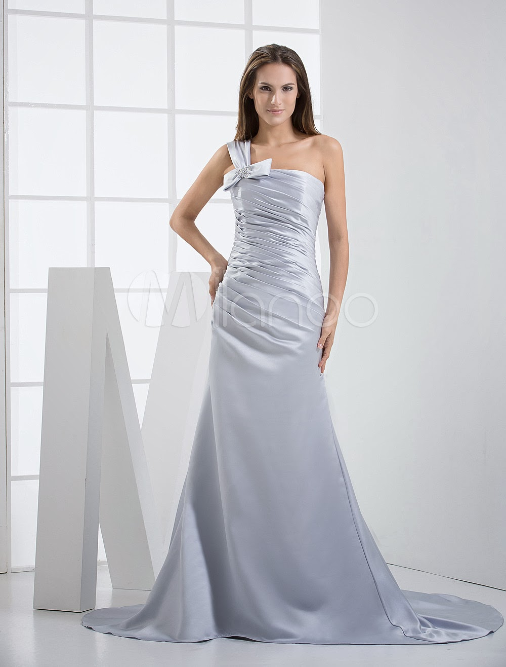 China Wholesale Dresses - Silver One-Shoulder Sheath Satin Wedding Dress