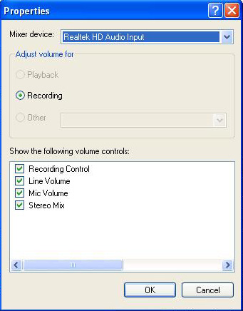 Setting Audio Take Mic Windows XP