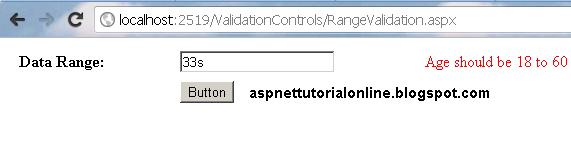 RangeValidator Example in ASP.NET