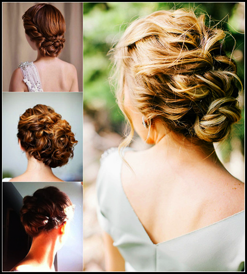 Messy low side bun hairstyle