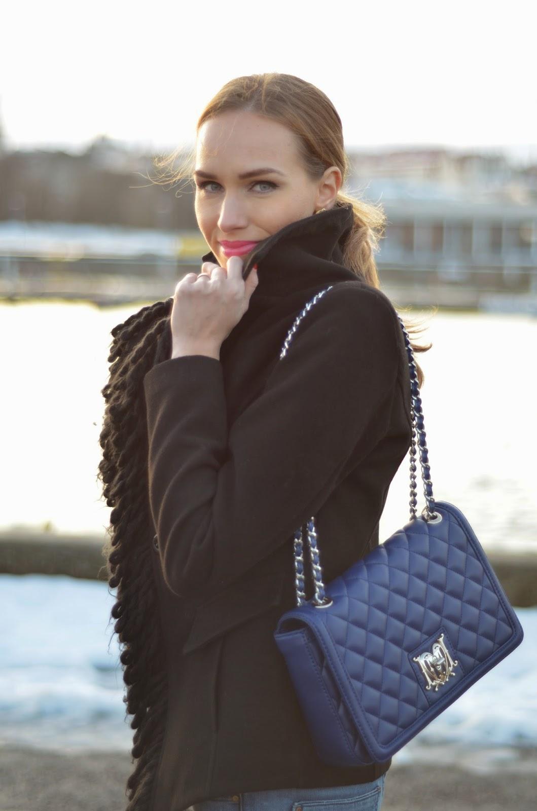 black-wool-fringe-jacket-moschino-blue-bag kristjaana mere