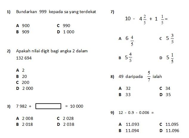 Selamat Datang Contoh Soalan Matematik Peperiksaan Akhir Tahun Bagi Murid Tahun 5 2015