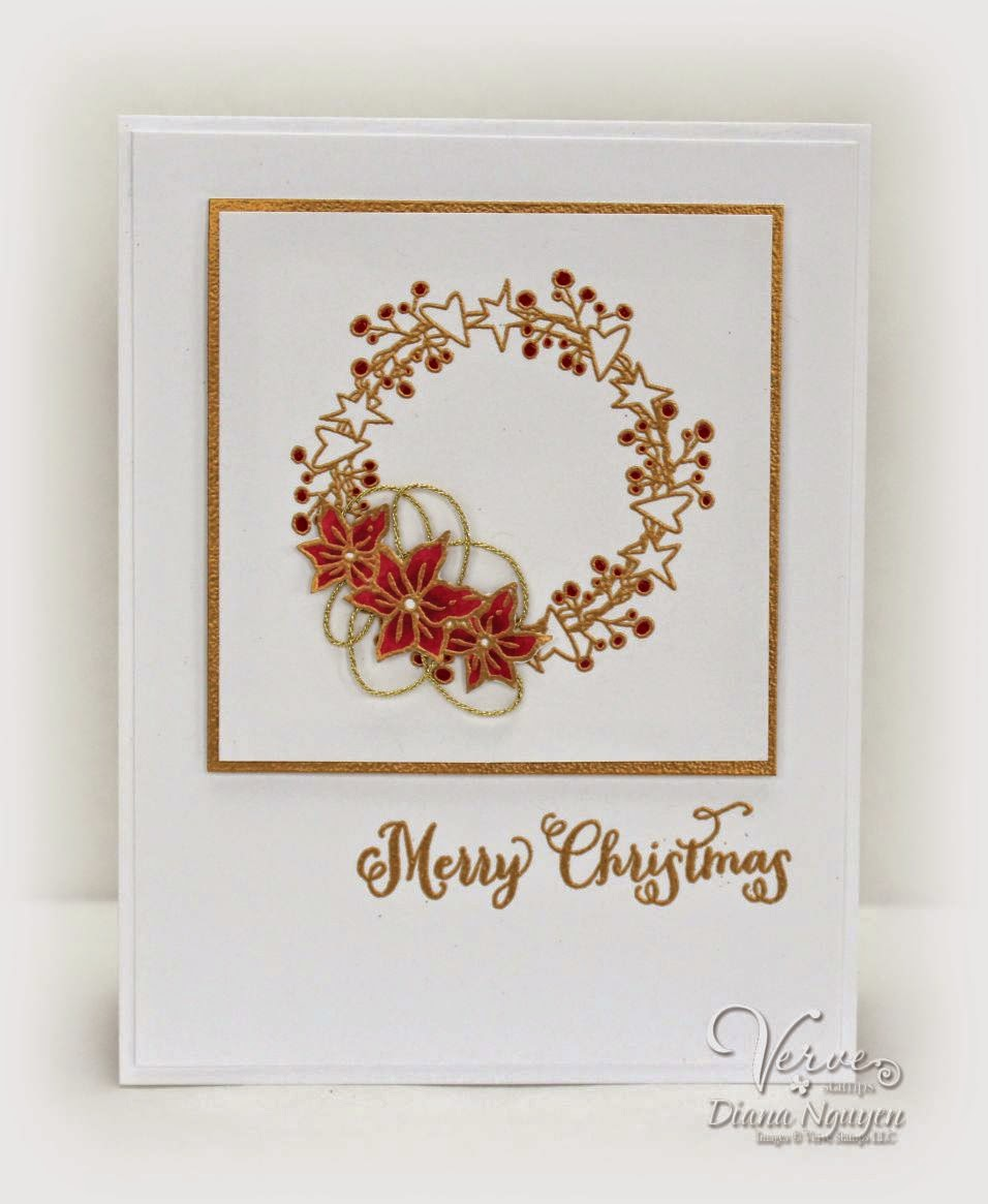 Diana Nguyen, Verve, Christmas, card, wreath, gold embossing