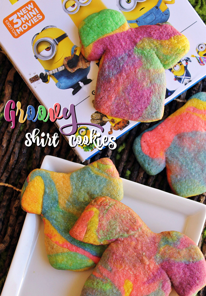 Groovy Shirt Cookies to celebrate the release of the Minions movie on Blu-Ray/DVD! #MinionsMovieNight (Ad)