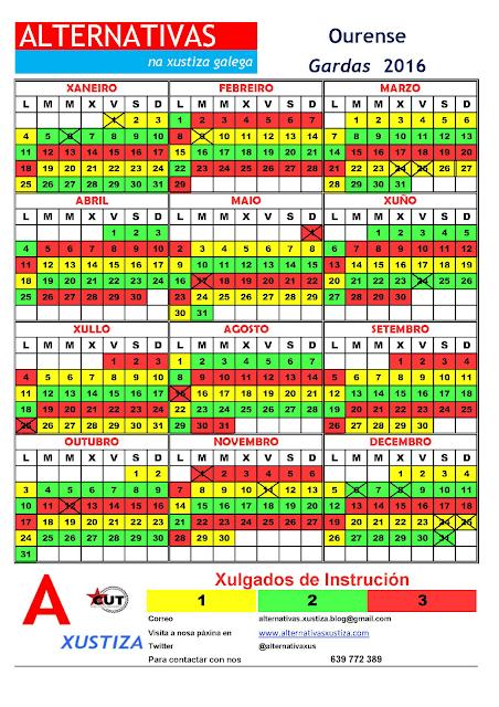 Ourense. Calendario gardas 2016