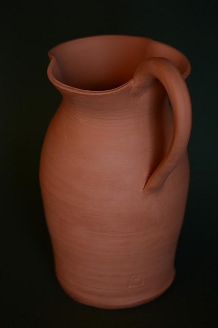 ceramics by amy myers, photography by amy myers, oinochoe, pitcher, earthenware, unglazed