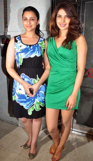 Priyanka Chopra and Parineeti Chopra in Short Skirts @ Parineeti Success