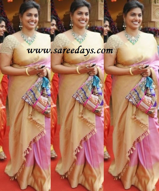Latest saree designs pinky reddy in pink traditional silk saree checkout pinky reddy in pink traditional silk saree with beige border and beige pallu and paired with matching short sleeves blouse altavistaventures Image collections