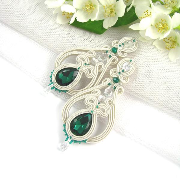 Kolczyki ślubne sutasz z kryształami emerald