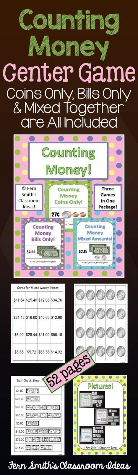 Fern Smith's Classroom Ideas Counting Money Center Game at TeachersPayTeachers