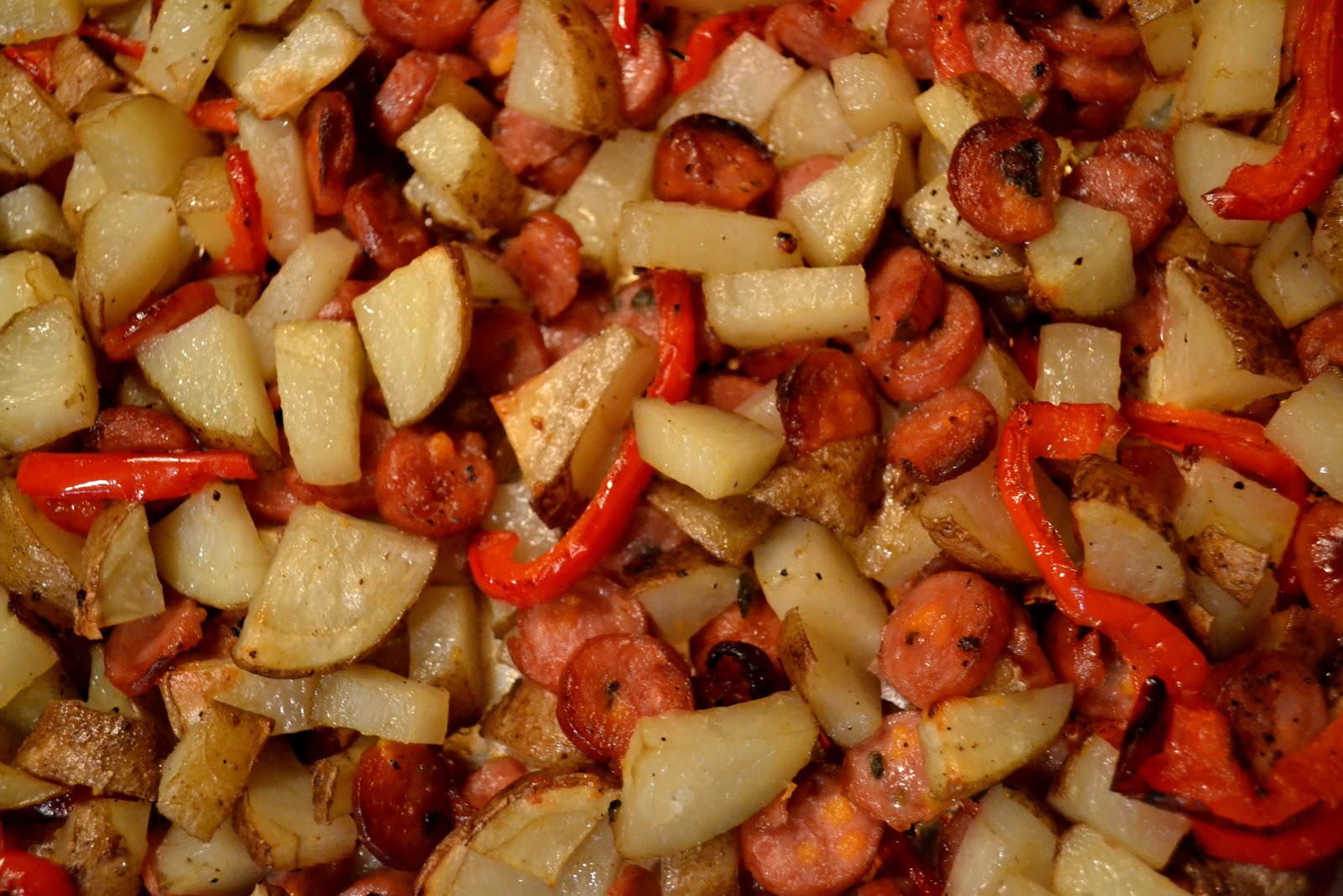Simple Savory & Satisfying: Roasted Sausage, Potatoes, and Peppers