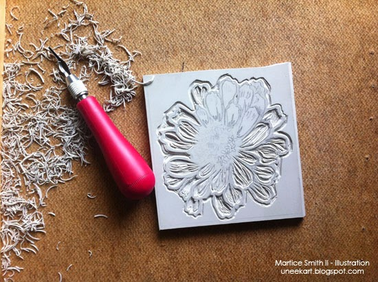 Hand-carving large flower stamp by Martice Smith II; http://bitly.com/StampCollection-Super-size