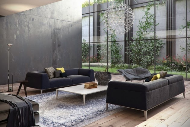 Living Rooms Decor With Black Velvet Sofa Freshnist Design