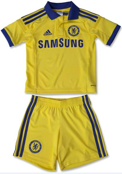 Baju Bola Anak Club Liga Inggris Chelsea Away Kids Warna Kuning Berkerah 2015
