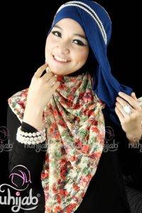 Nuhijab SSB Flower - Cream Blue (Toko Jilbab dan Busana Muslimah Terbaru)