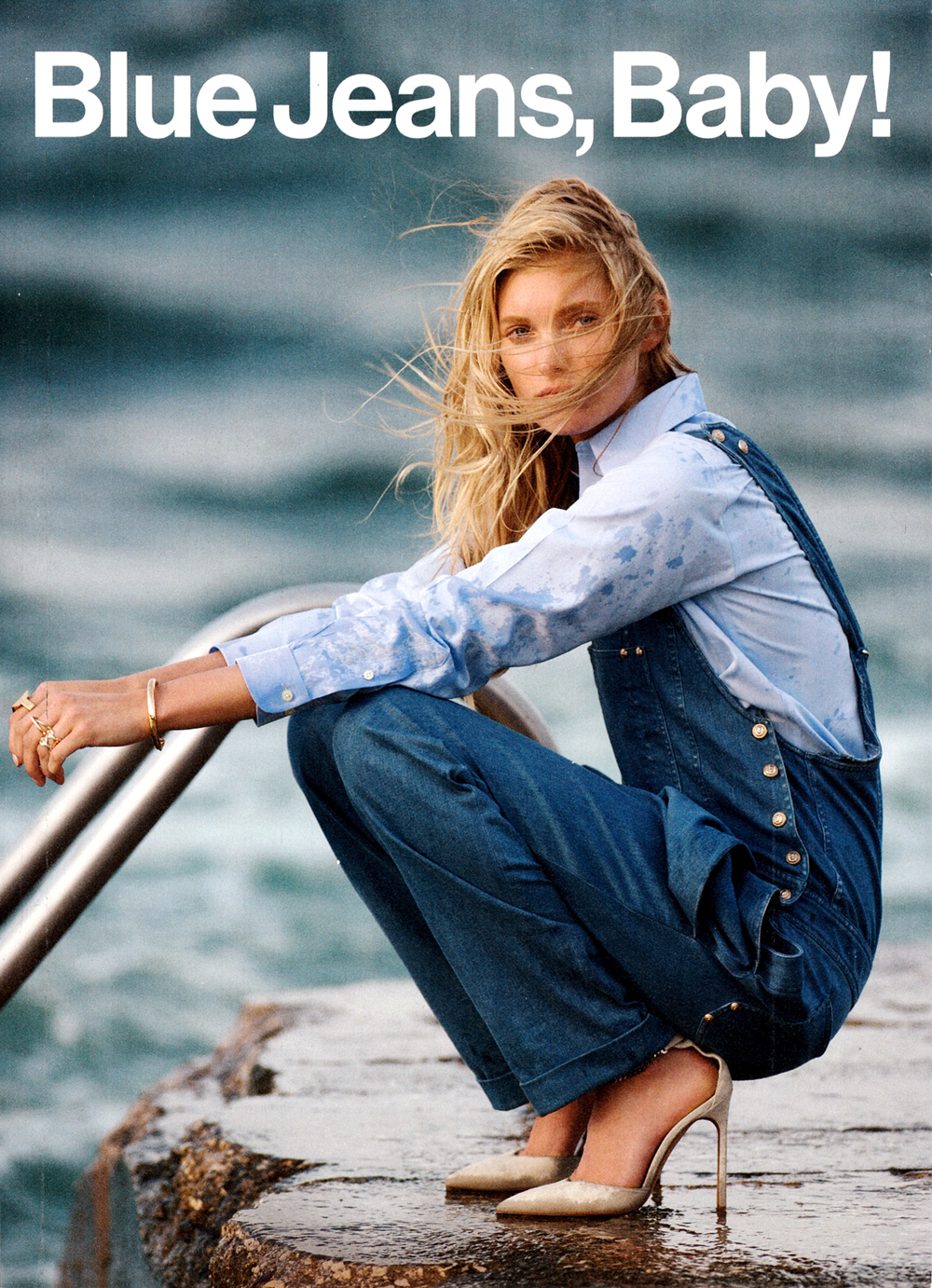 Elsa Hosk photographed by Gilles Bensimon and styled by Anne Christensen for Blue Jeans Baby editorial feat. in Glamour US January 2014