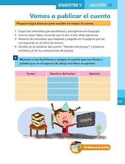 Apoyo Primaria Español 1er grado Bimestre 5 lección 20 Vamos a publicar el cuento