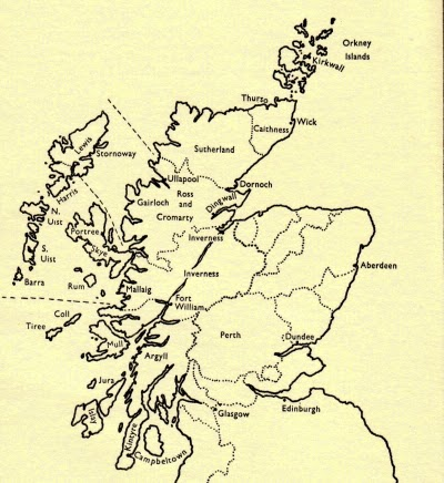 Climbing My Family Tree: Map of Scotland, showing Perth shire
