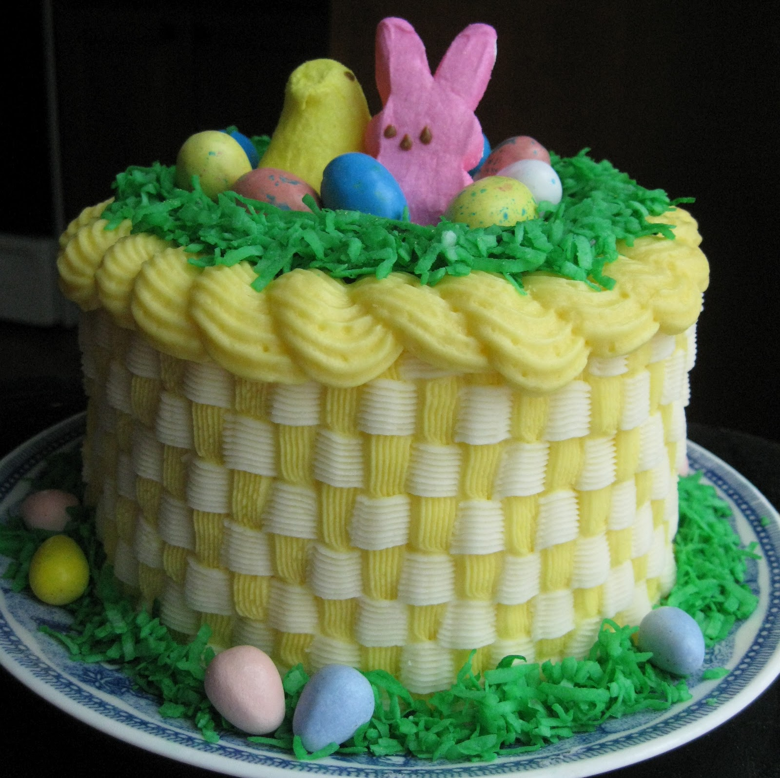 Baking outside the box easter basket cake wstripes inside if you want it to look interesting on the inside as well you can dye your cake batter three different colors when you separate it into pans negle Gallery