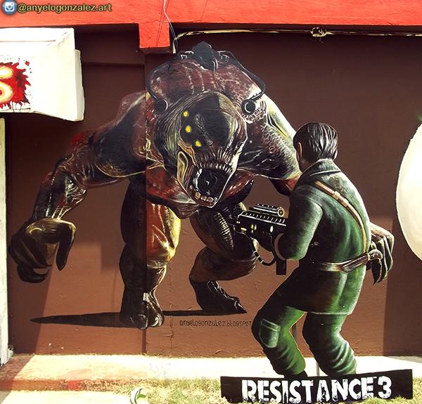 Mural por encargo Resistance 3 comisión Anyelo Gonzalez