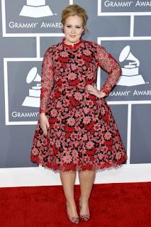 Adele wearing red Grammys 2013