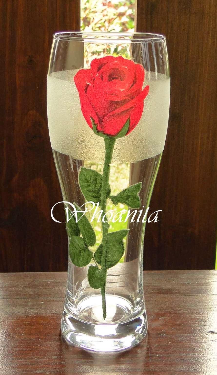 szklanka z różą, decoupage