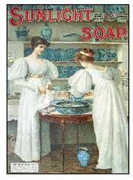 A Victorian Soap add where two women in white bend over a basin of water.