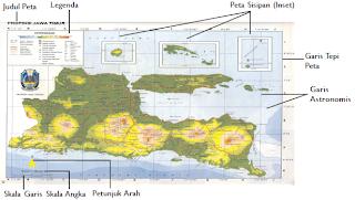 Tulisan pada peta dapat mempertegas arti dari simbol-simbol yang digunakan (Sumber: Atlas Indonesia, Dunia dan Budayanya, Depdikbud)