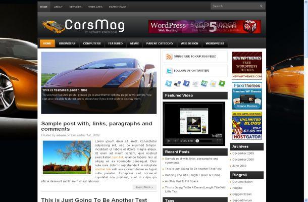 Free Fast Cars Magazine Wordpress Theme Template