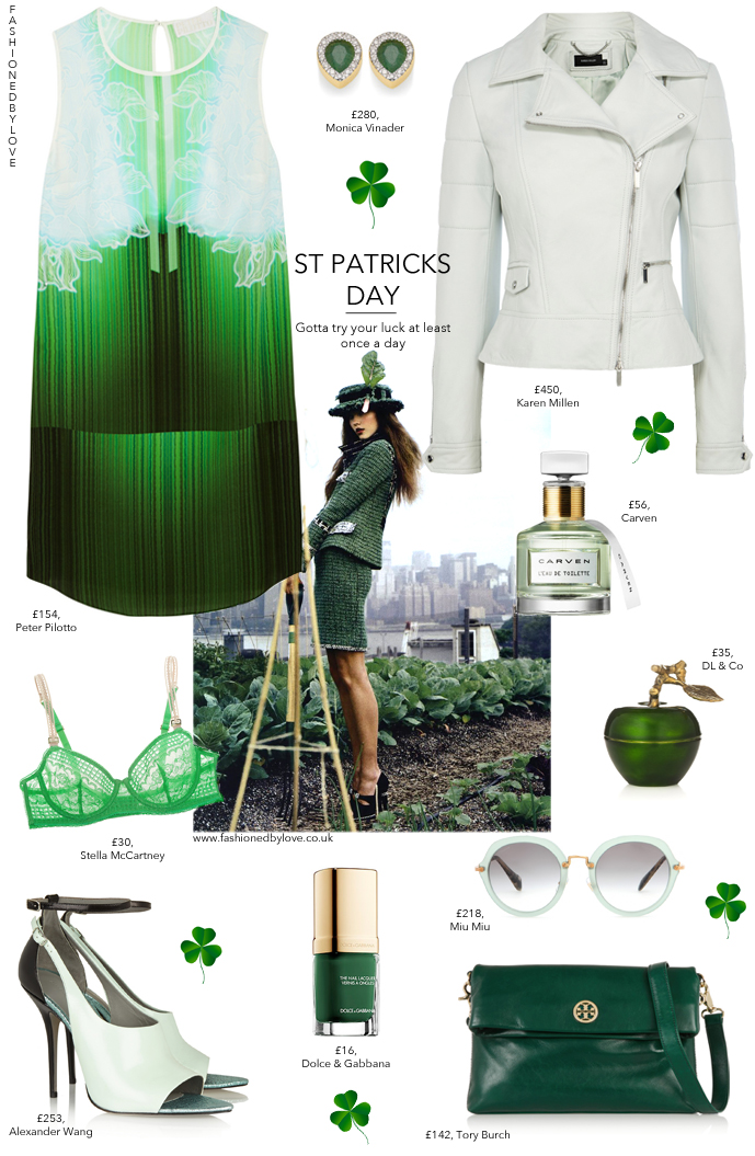 fashioned by love / british fashion blog / what to wear to St patricks day / how to wear green / outfit inspiration / alexander wang, peter pilot to, carven, tory burch, dolce&gabbana, scented candles, miu miu, karen millen