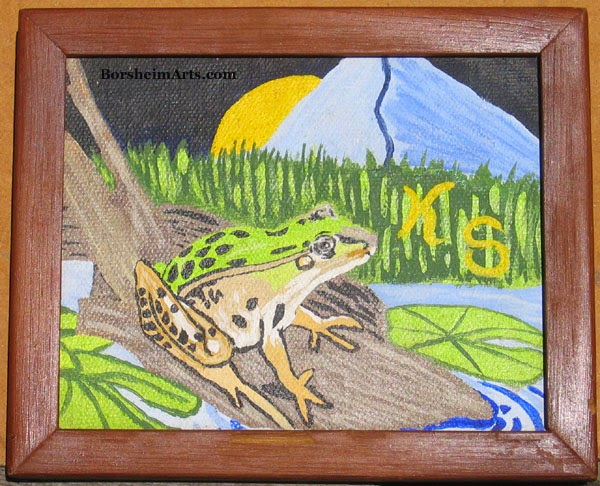 children's art, art by a child artist, artist, art, painting by children, frog, mountain, landscape