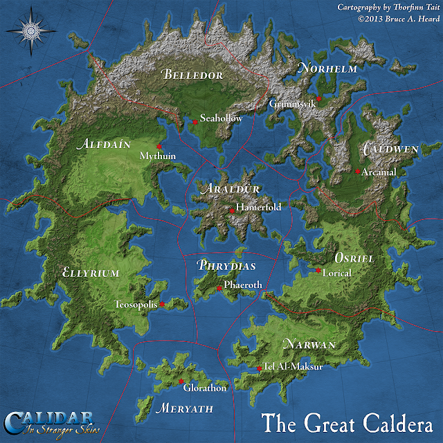 The Great Caldera, Calidar, Topographic Map, Stereographic Projection