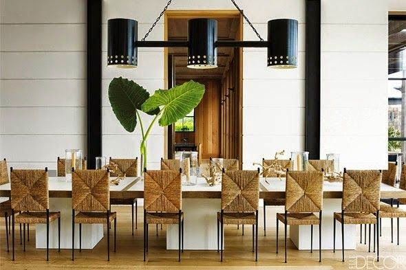 elle decor modern dining room natural fiber seagrass chairs