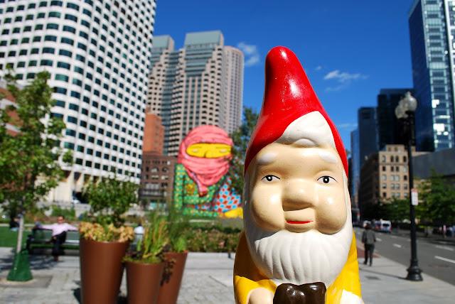 The boston garden gnome dewey square os gemeos mural on for Boston dewey square mural