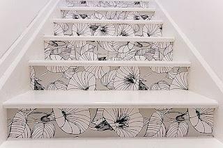 tecido apliciado em escadas