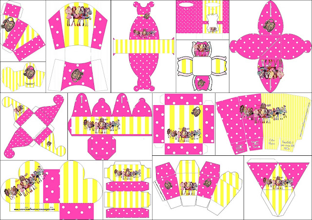 Yellow and Pink Ever After High: Free Printable Boxes.