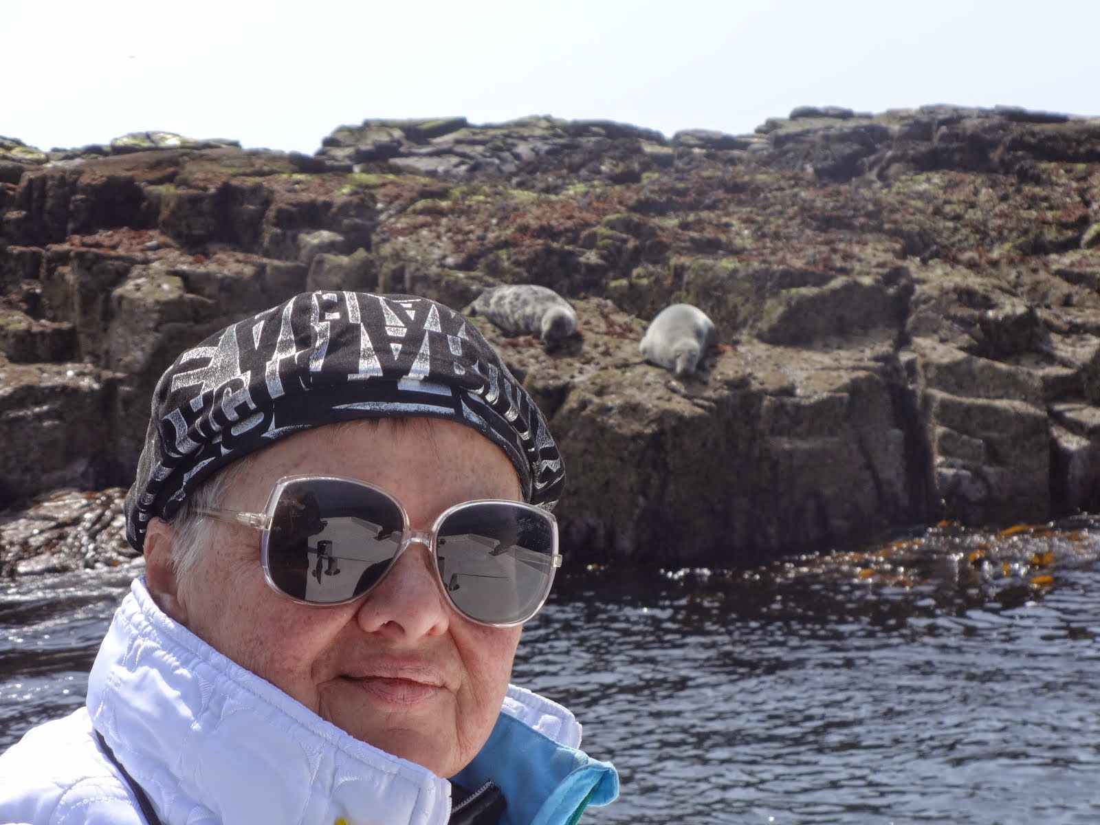 Mom with grey seals in the background