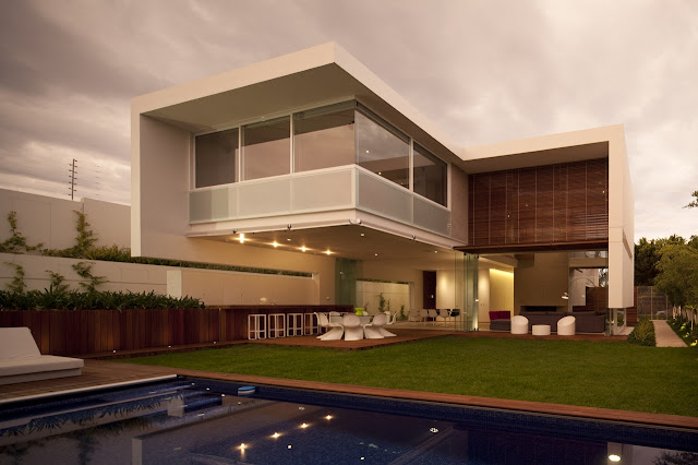 Modern FF House in Mexico at sunset