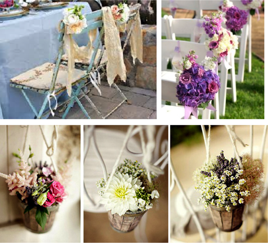 momentips decorando las sillas de la boda