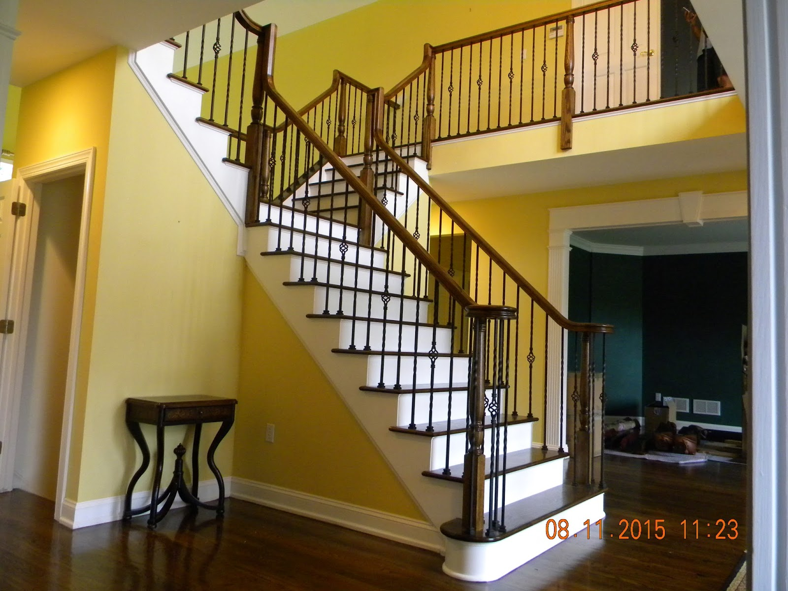Wood Stairs And Rails And Iron Balusters Install Iron