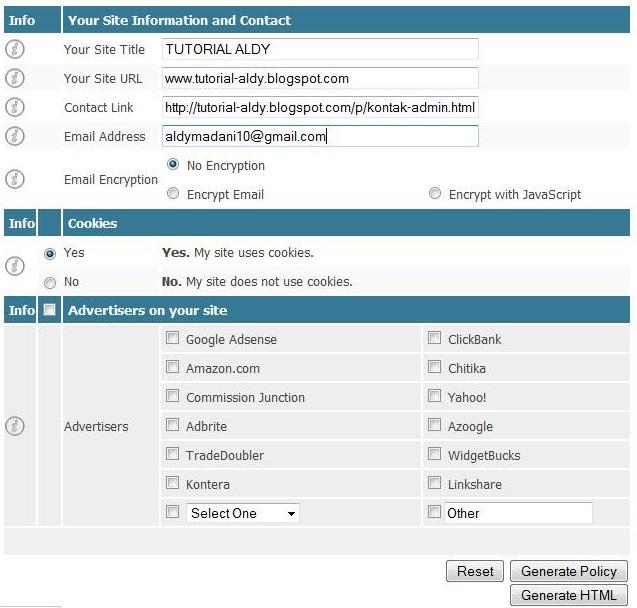 Biodata Blog Untuk Privacy Policy Generator