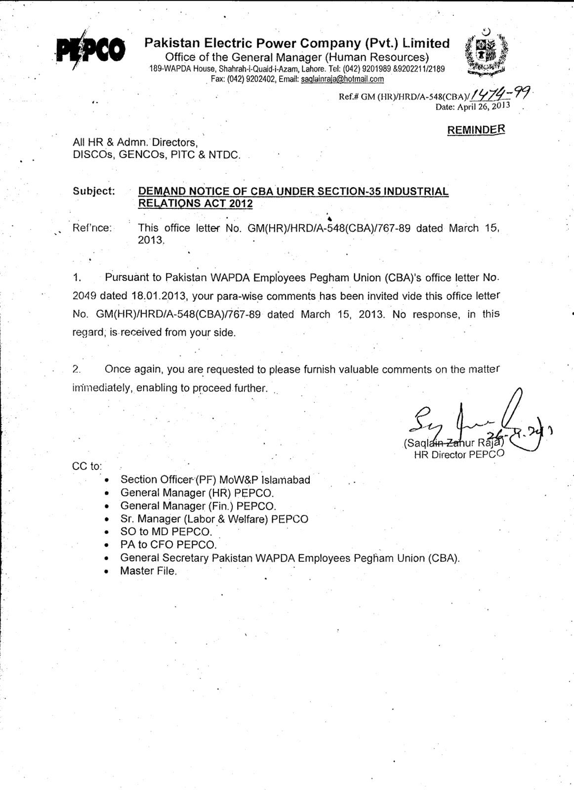 demand notice wapda