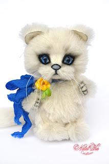 Artist teddy kitten, teddy cat, white cat, alpaca teddy, ooak, handmade teddy, NatalKa Creations, Künstlerkatze, Kätzchen, Kater, Teddykatze, teddies with charm, авторский котенок тедди, авторский кот, кошка тедди, белый кот