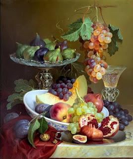 Bodegones Jarrones Flores Blancas Frutas Exoticas