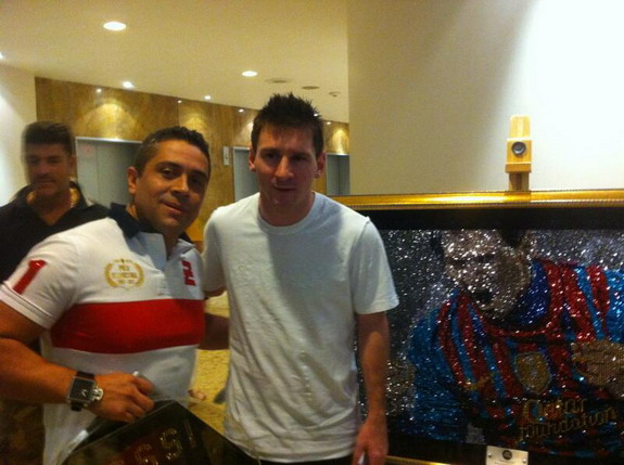 Lionel Messi receives self-portrait made of Swarovski crystals worth £50m