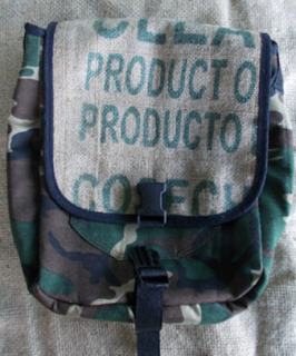 camo and coffee sack messenger bag