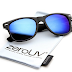 Flat Matte Reflective Revo Color Lens Large Horn Rimmed Style Sunglasses - UV400