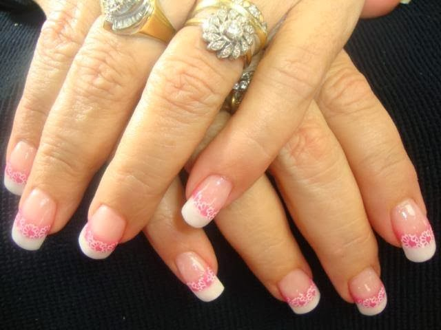 Acrylic Gel Backfill then LED polish design with neon pink highlights and lace design nails merry xmas nail art